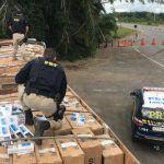 CONQUISTA: Polícia apreende outra grande carga de cigarro em carreta