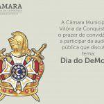 CMVC: Audiência pública debaterá Dia do DeMolay