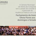 """Câmara debate """"Fechamento da Avenida Olívia Flores"""" em audiência pública nesta segunda-feira, 17"""