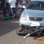 CONQUISTA: Reportagem detalha acidente entre carro e moto no bairro Campinhos OUÇA