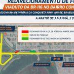 Prefeitura de Vitória da Conquista realiza obra às margens da BR-116 e VIABAHIA faz mudanças no tráfego da via