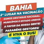 Bahia ocupa segundo lugar no índice de vacinação no Brasil