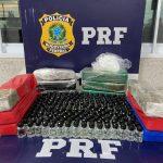 Flagrante em Conquista: Mulher é presa transportando maconha, cocaína e frascos de lança-perfume dentro de ônibus
